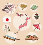 The set of national profile of the japan Stock Images
