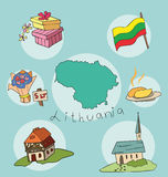 The set of national profile of the lithuania. The set of national profile of the cartoon state of the world isolated on the background. Hand drawing decorative Stock Photography