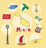 The set of national profile of the malta Royalty Free Stock Photos