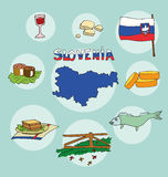 The set of national profile of the slovenia. The set of national profile of the cartoon state of the world isolated on the background. Hand drawing decorative Royalty Free Stock Photography