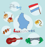 The set of national profile of the state luxembourg. The set of national profile of the state of cartoon  of the world isolated on the background. Hand drawing Royalty Free Stock Photography