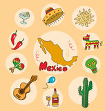 The set of national profile of the state mexico. The set of national profile of the state of cartoon  of the world isolated on the background. Hand drawing Stock Photography