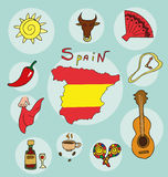 The set of national profile of the state spain. The set of national profile of the state of cartoon  of the world isolated on the background. Hand drawing Royalty Free Stock Photos