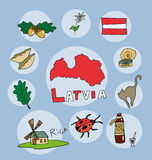 The set of national profile of the state spain latvia. The set of national profile of the state of cartoon  of the world isolated on the background. Hand drawing Stock Image