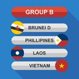 Set of national south east asian flags. Draw result. Football championship groups. Flags flat design  illustration. Set of national south east asian flags. Draw Royalty Free Stock Photography