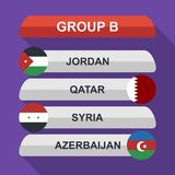 Set of national south east asian flags. Draw result. Football championship groups. Flags flat design  illustration. Set of national south east asian flags. Draw Royalty Free Stock Image