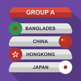 Set of national south east asian flags. Draw result. Football championship groups. Flags flat design  illustration. Set of national south east asian flags. Draw Royalty Free Stock Photo