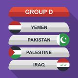 Set of national south east asian flags. Draw result. Football championship groups. Flags flat design vector illustration. Set of national south east asian flags Royalty Free Stock Photos