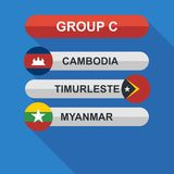Set of national south east asian flags. Draw result. Football championship groups. Flags flat design  illustration. Set of national south east asian flags. Draw Royalty Free Stock Photos