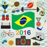 Set of national and sport simbols. Rio games, set of national and sport simbols Vector Illustration