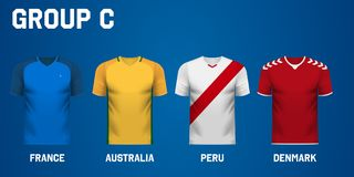 Set of team jersey for group C of football tournament in Russia. Set of national team jersey shirts for group C in a football tournament in Russia royalty free illustration