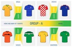 Set of nationals football uniform - group A royalty free stock photos