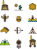Set of Native American India icons Royalty Free Stock Photos
