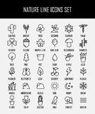 Set natur ikony w nowożytnym cienkim kreskowym stylu Zdjęcie Stock