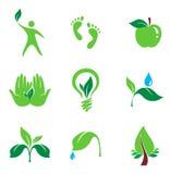 Set Natur und organische Ikonen Lizenzfreie Stockfotos