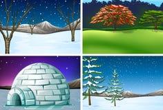 Set natura krajobraz ilustracja wektor