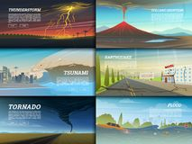 Set of natural disaster or cataclysms. Catastrophe and crisis Background. Realistic Tornado or storm, Lightning Strike. Rain Thunderstorm, Volcano eruption Royalty Free Stock Photo