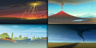Set of natural disaster or cataclysms. Catastrophe and crisis Background. Realistic Tornado or storm, Lightning Strike. Rain Thunderstorm, Volcano eruption Stock Image