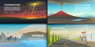 Set of natural disaster or cataclysms. Catastrophe and crisis Background. Realistic Tornado or storm, Lightning Strike. Rain Thunderstorm, Volcano eruption Royalty Free Stock Photos