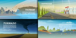Set of natural disaster or cataclysms. Catastrophe and crisis Background. Realistic Tornado or storm, Lightning Strike. Rain Thunderstorm, Volcano eruption Royalty Free Stock Images