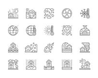 Set of Natural Disaster Line Icons. Drought, Global Warming, Pollution and more. stock illustration
