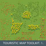 Set of natural elements for touristic map Royalty Free Stock Images