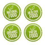 Set of natural Food Badges. Healthy, Organic, Fresh Food. Vector hand drawn Signs. Can be used for packaging Design. Eps10 Vector Royalty Free Stock Photo