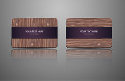 Set natural gift cards. Wooden credit cards templates. Vector illustration Royalty Free Stock Photo