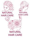Set of natural hair care logos Royalty Free Stock Image
