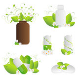 Natural herbal pills. Set of natural herbal pills with leaves and flowers isolated on white background. EPS file available vector illustration
