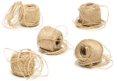 Set of Natural Jute Twines. Jute skeins on white background Stock Photography