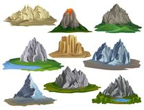Flat vectoe set of natural landscape elements. Large mountains surrounded with green grass and small lakes, volcano with. Set of natural landscape elements for stock illustration