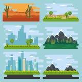 Set natural landscape scenes. Vector illustration design royalty free illustration