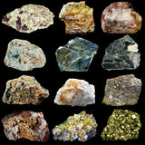 Set of natural minerals and rocks isolated on black background Stock Photo