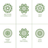 Set of natural organic eco badges and labels stock illustration