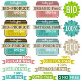 Set of natural organic product labels and emblems Stock Photography