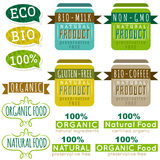 Set of natural organic product labels and emblems Stock Photos