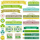 Set of natural organic product labels and emblems Royalty Free Stock Photo