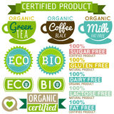 Set of natural organic product labels and emblems Royalty Free Stock Image