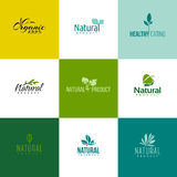 Set of natural and organic products logo templates. Leaves and branches. Set of natural and organic products. Icons of leaves and branches royalty free illustration
