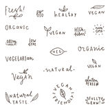 Set of natural, organic, vegetarian, vegan labels. Stock Photos