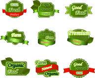 Set of natural premium fresh labels. Collection of natural premium quality labels for food, other print material and packaging Stock Image