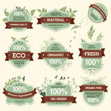 Set of Natural Premium Quality Labels Royalty Free Stock Photo