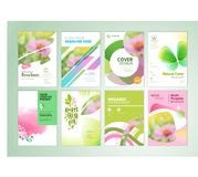 Set of natural product brochure, annual report, flyer design templates in A4 size. Vector illustrations for beauty, organic products and cosmetics presentation stock illustration