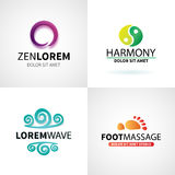 Set of natural spa yoga wellness meditation. Massage logo elements vector illustration Royalty Free Stock Photos