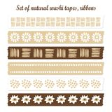 Set of natural washi tapes, ribbons,  elements, cu Stock Images