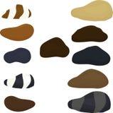 Set naturalni denni kamienie, odosobniony na bielu również zwrócić corel ilustracji wektora Obrazy Stock