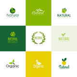 Set naturalni i organicznie produktu loga szablony, ikony Obrazy Royalty Free