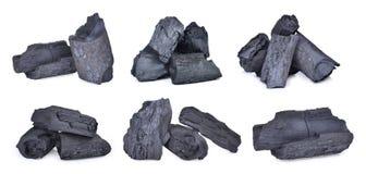 Set naturalny drewniany węgiel drzewny, tradycyjny węgiel drzewny lub ciężki drewno, Obraz Royalty Free