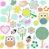 Set of nature and animals textile stickers Stock Image